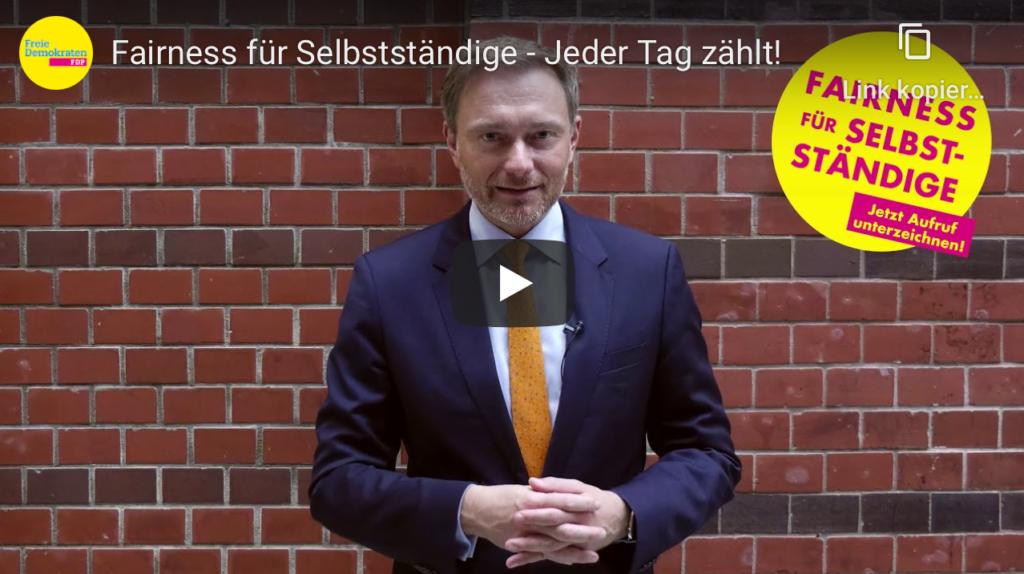 Video-Aufruf Christian Lindner, Screenshot