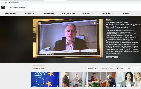 Der Bundestag hat auf seiner Startseite mit diesem Foto von Andreas über die Ausschusssitzung berichtet, Screenshot