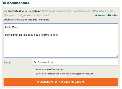 Neue Kommentarfunktion auf vgsd.de