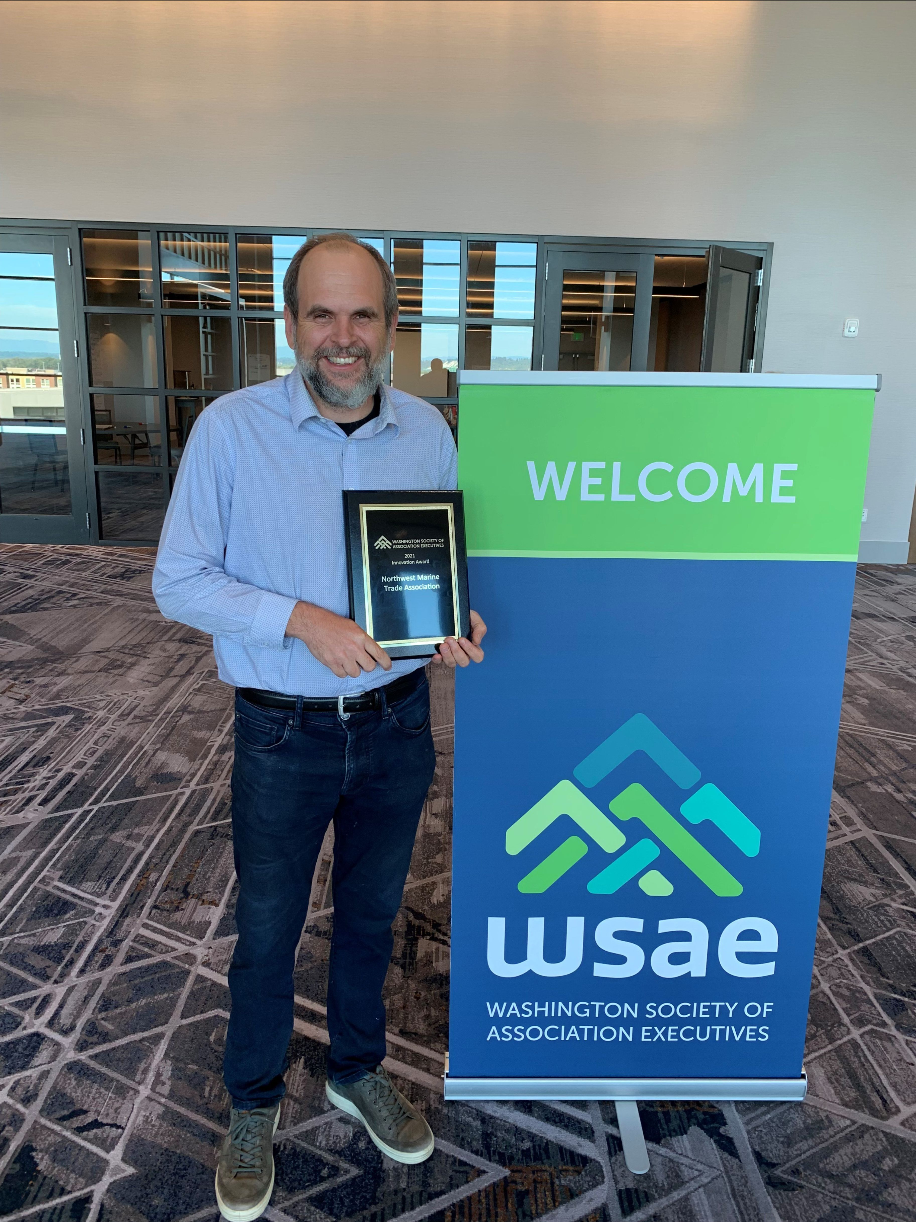 NMTA received the Innovation Award from the Washington Association of Society Executives (WSAE) for Seattle Boat Show Connected. Peter Schrappen received the award on our behalf and the trophy will be on display at our office.