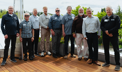 NMTA board chairs pictured from left to right are: Kevin Roggenbuck 1996-98, Bill Baker 2003-05, Alan Bohling 2005-07, Bill Youngsman 2009-11, Mike Burns 2011-13, Bruce Hedrick 2013-15, Craig Perry 2017-19, James Baker 2019-21, Mark Helgen 2021-23. Not show are: Larry Carpenter 1998-2001, John Wedeberg 2001-03, Dwight Jones 2007-09 and Patti Segulja-Lau 2015-17.