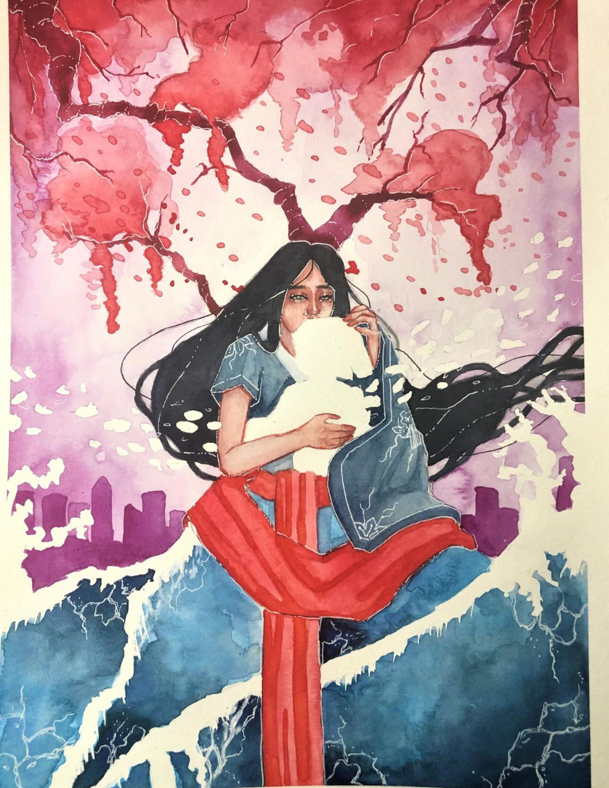 Poster for Kokoro: True Heart. A woman holding the outline of a baby in front of a pink, flowering tree.