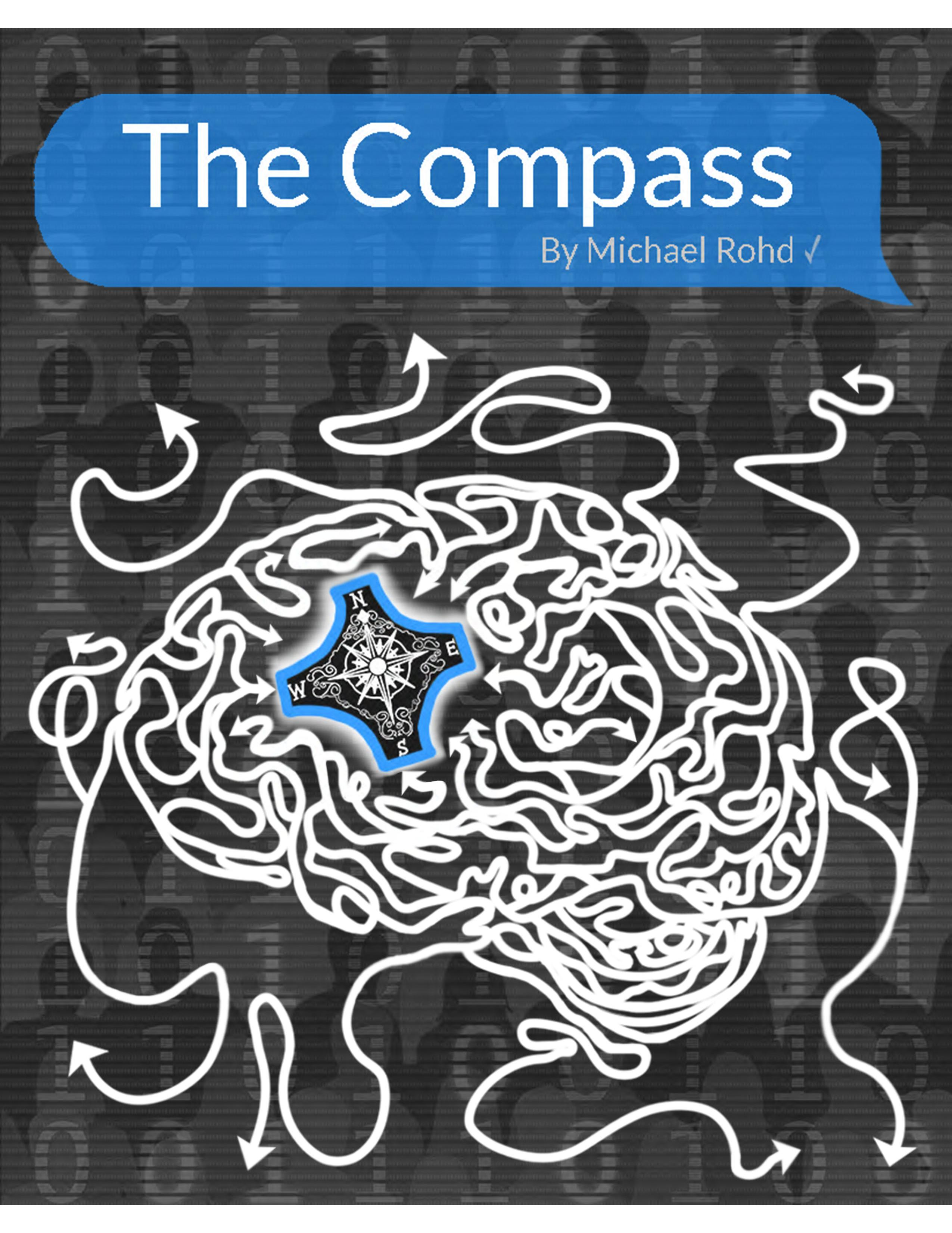 Poster for The Compass. Graphic of a brain made up of twisting arrows with a compass embedded inside.