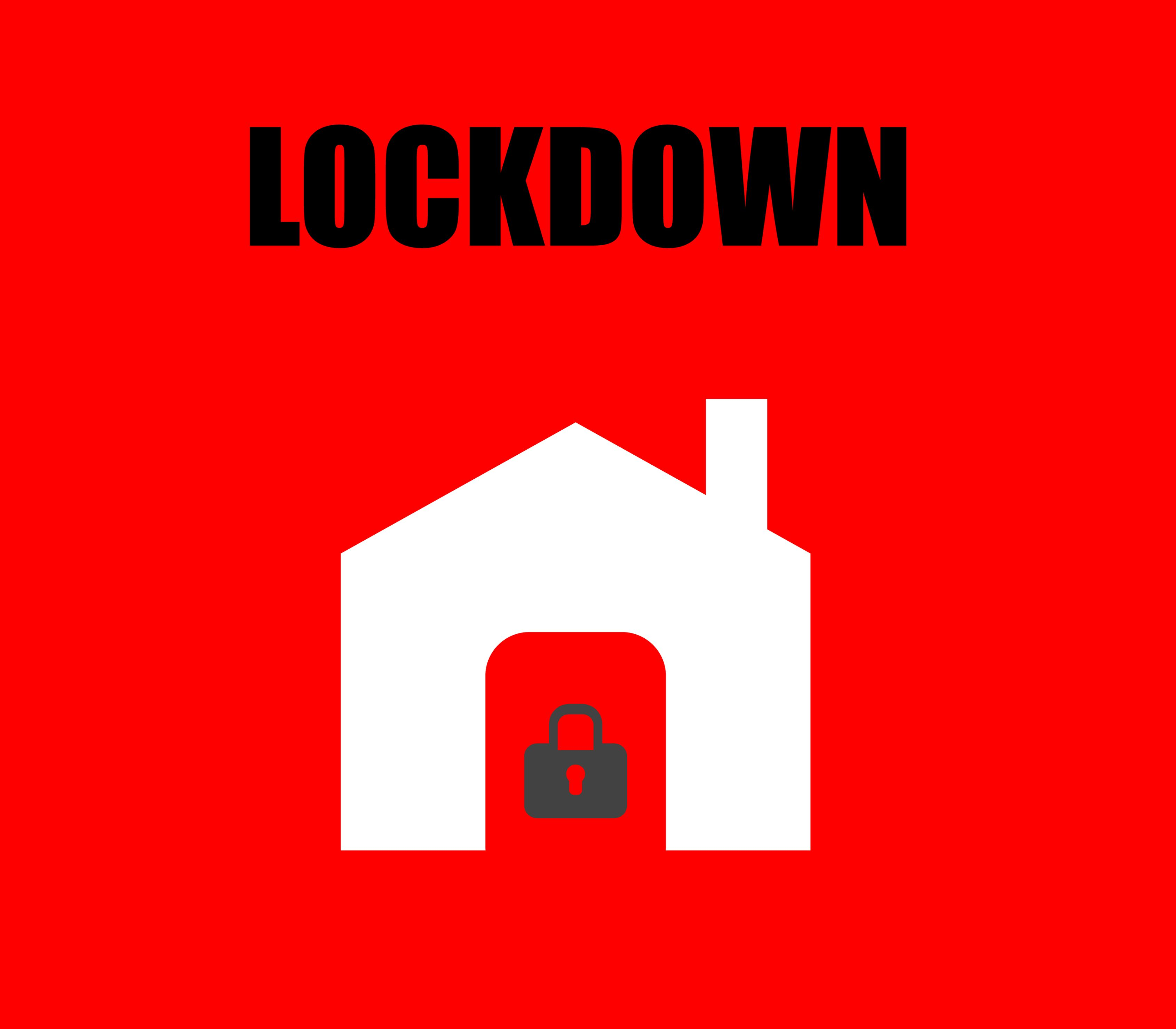 "image of house with padlock and the words ""lock down"""