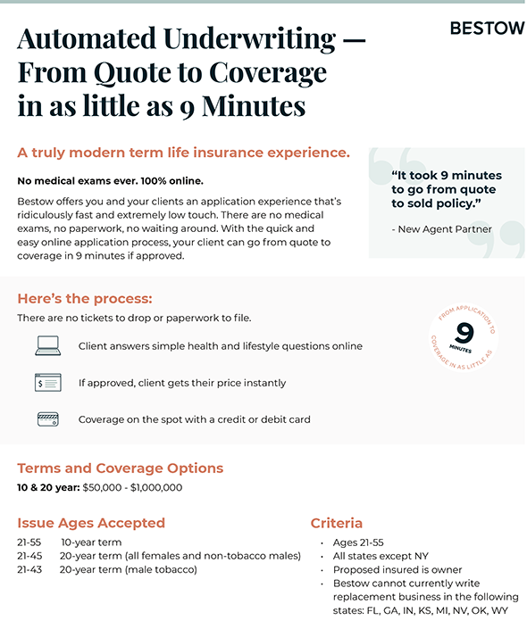 Automated Underwriting - From Quote to Coverage in as little as 9 Minutes