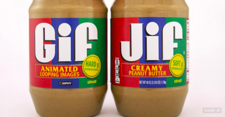 Two jars of peanut butter, one says GIF one says JIF