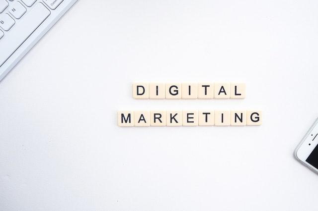 Digital marketing written in scrabble tiles