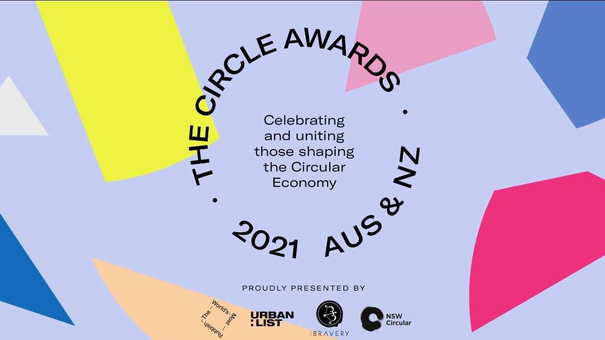 Image background lilac with abstract shapes of colour. The circle awards. 2021 AUS and ANZ. Proudly presented by the world's most rubbish website logo, the Urban list logo, the bravery logo, NSW circular logor