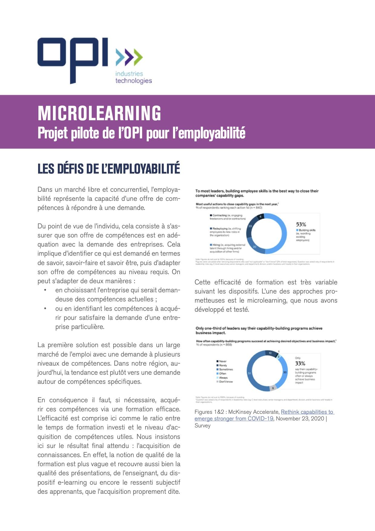 Microlearnig : appel à projet pilote de l'OPI
