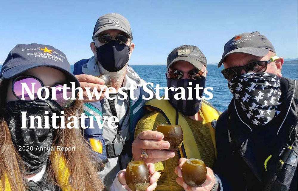 Cover photo of 2020 annual report, with four Clallam MRC volunteers from their kelp monitoring team toasting with cups made from the bulbs of bull kelp.