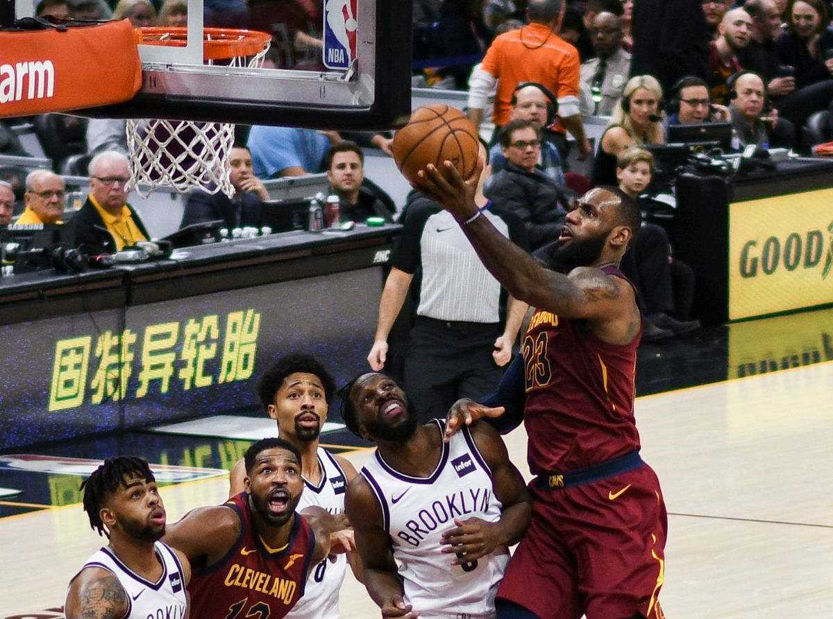 LeBron James attempts a layup shot against the Brooklyn Nets