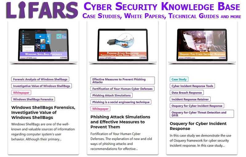 LIFARS Cyber Security Knowledge Base - Case Studies, White-Papers, Technical Guides