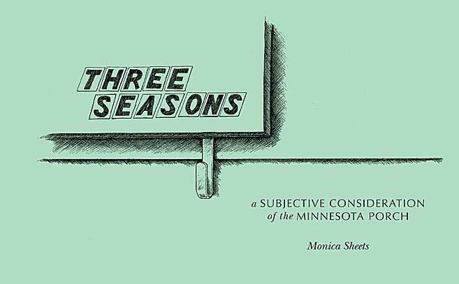 """a seafoam green background with a black ink drawing of the lower right corner of a mailbox with the words """"three seasons"""" on it"""