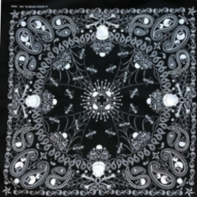 Rockmount Ranch Wear Bandana Black Skulls #171433