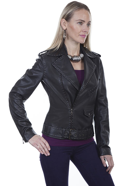 Scully Ladies' Black Lamb Motorcycle #719255