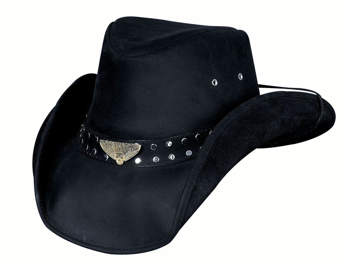 Bullhide Hats Black Leather Born To Ride #5004014