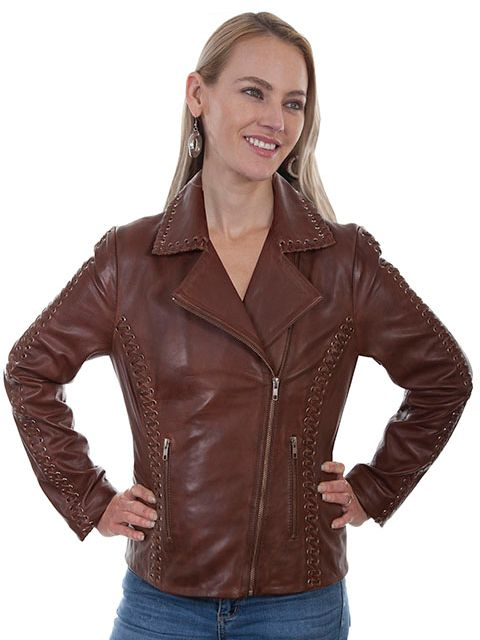Scully Ladies' Motorcycle Jacket Brown #71901030