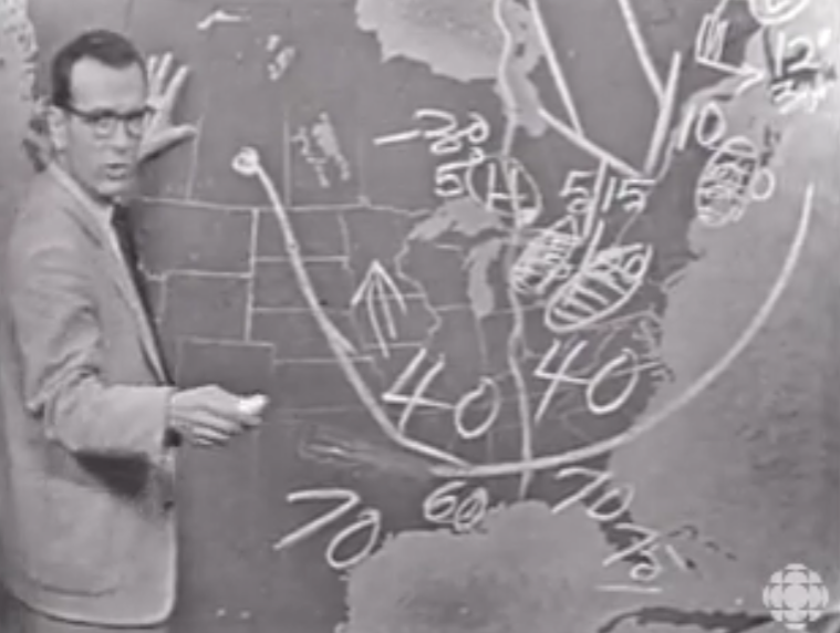 Percy Saltzman giving the weather report
