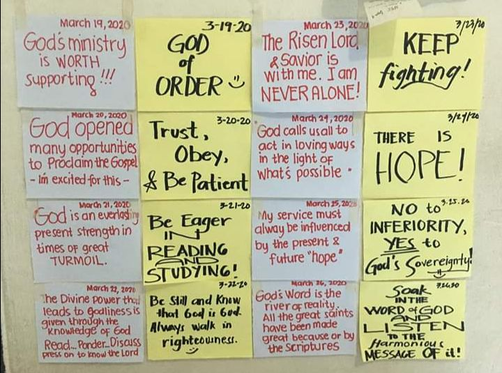 WALL OF WISDOM | Tracing God's hands and footsteps daily in the midst of the CoVid-19 crisis at the Bicol Region (Legazpi) IV Home