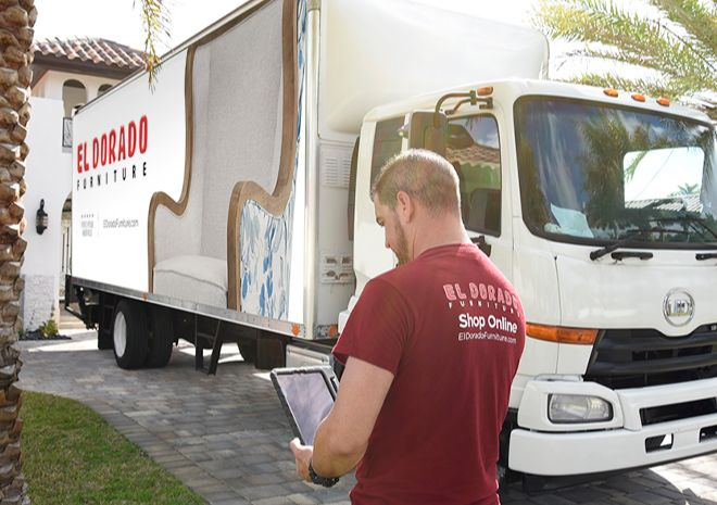 Delivery Truck and Delivery Man Image