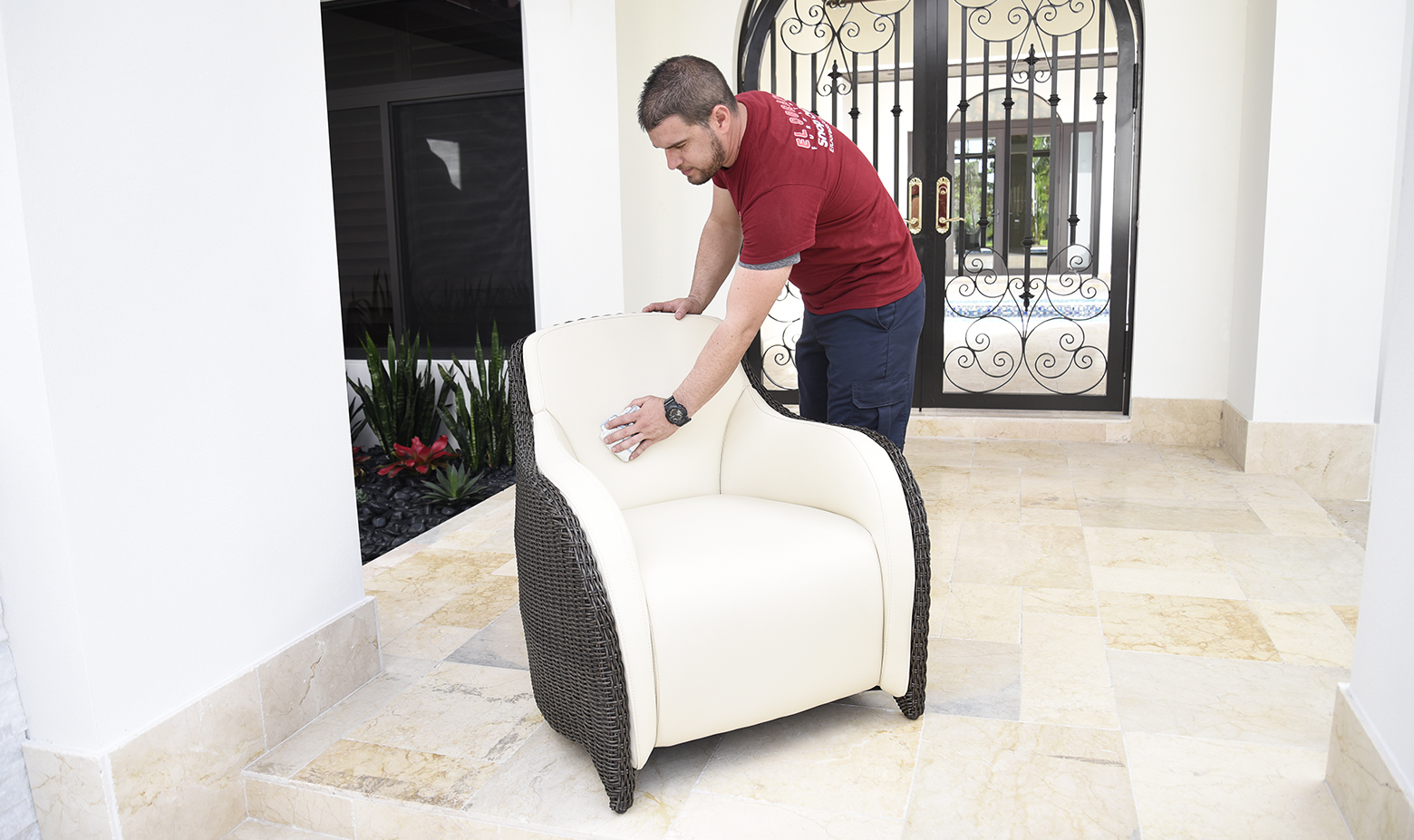 delivery man cleaning furniture
