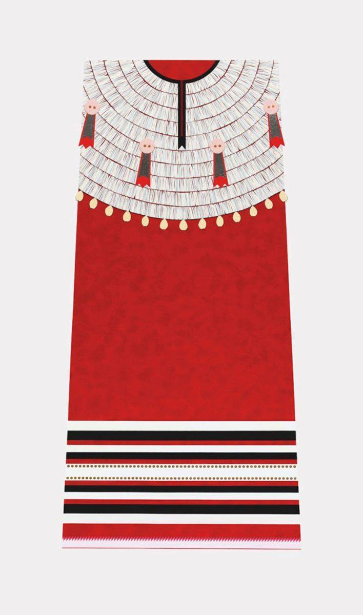 Image description: Straight-on view of a red dentalium shell dress abstracted as a flat plane of color with intricate linework for beading.