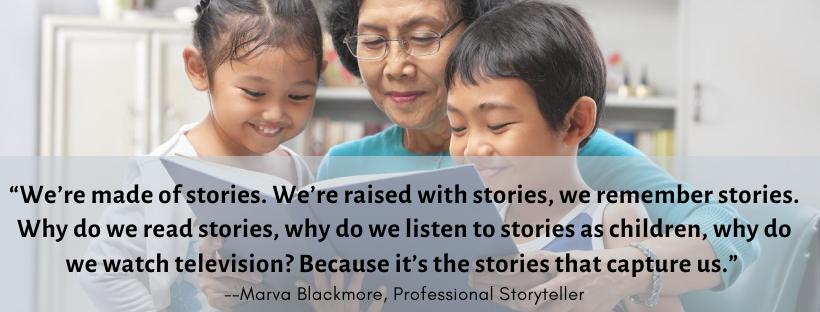 """""""We're made of stories. We're raised with stories, we remember stories,"""" she said. """"Why do we read stories, why do we listen to stories as children, why do we watch television? Because it's the stories that capture us."""""""