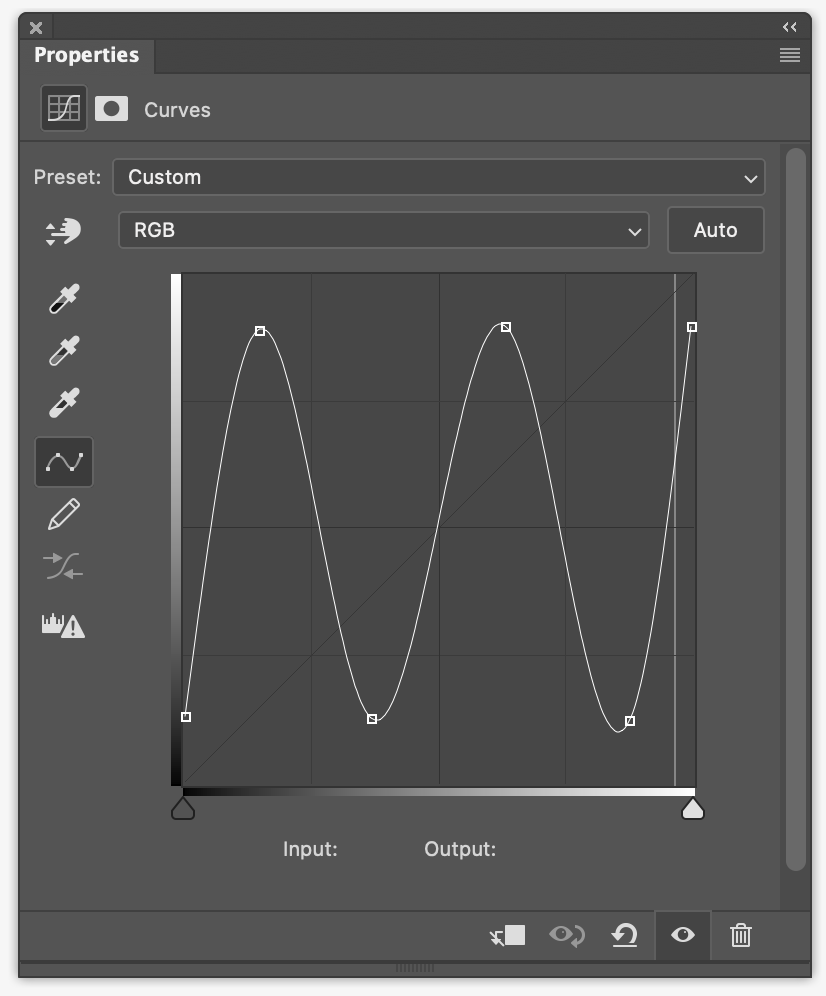 Screenshot of Photoshop's Curves adjustment layer showing a solar curve shape
