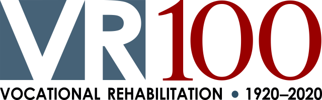 Banner with the words VR100 Vocational Rehabilitation 1920-2020