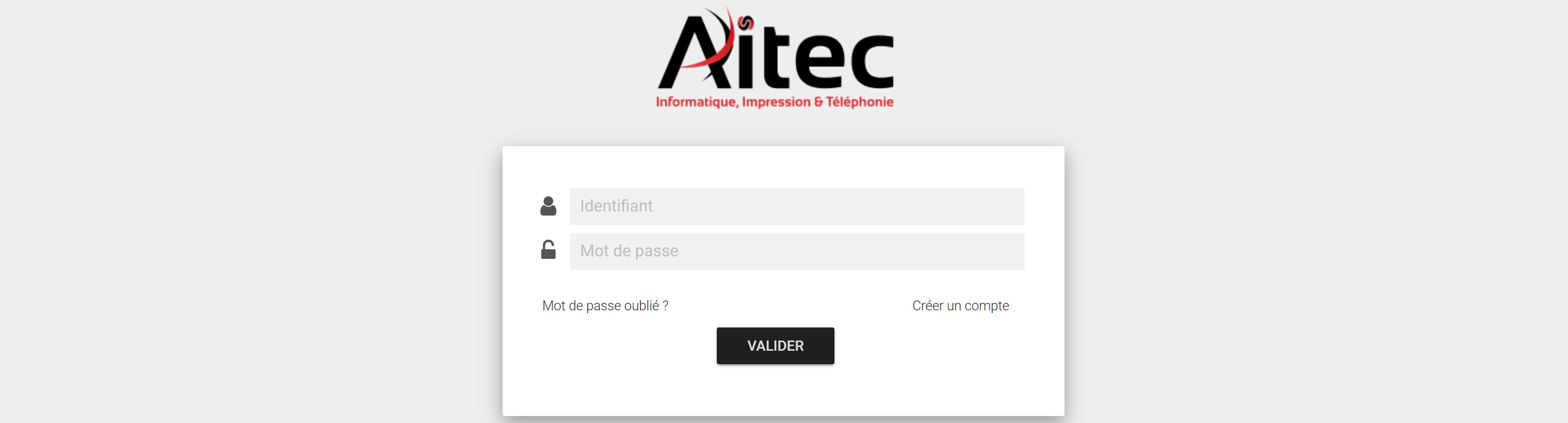 Accueil portail client AITEC