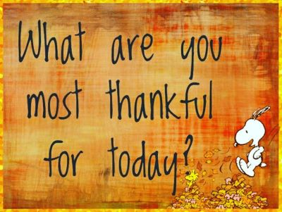 What are you most thankful for today with snoopy and leaves.