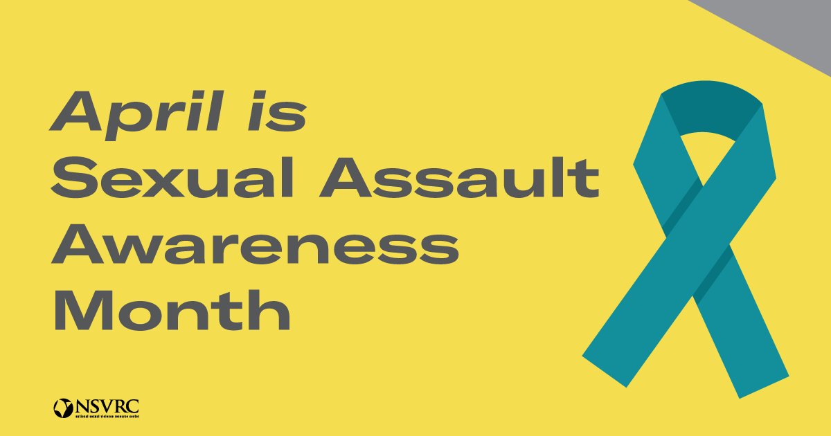 April is sexual assault awareness month written with a teal ribbon