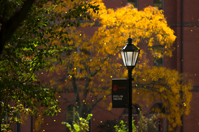 Brown campus in the fall with lamppost