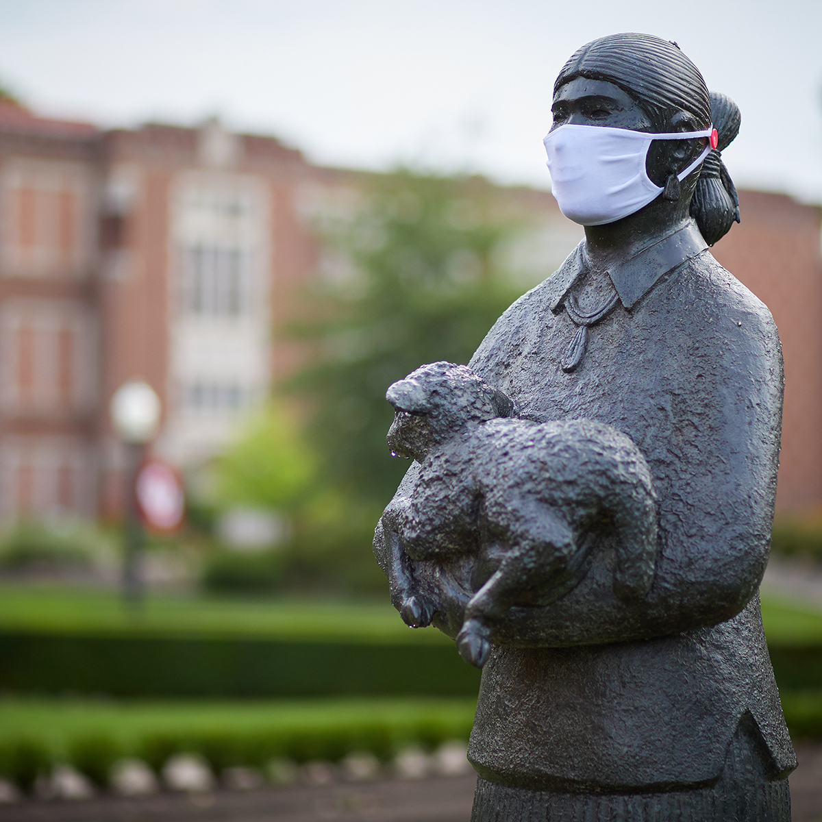 Statue with mask