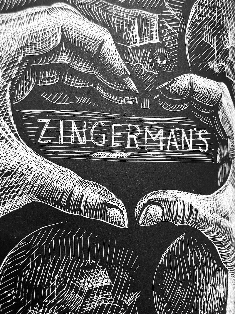 A scratchboard illustration of two hands making a heart around the word Zingerman's