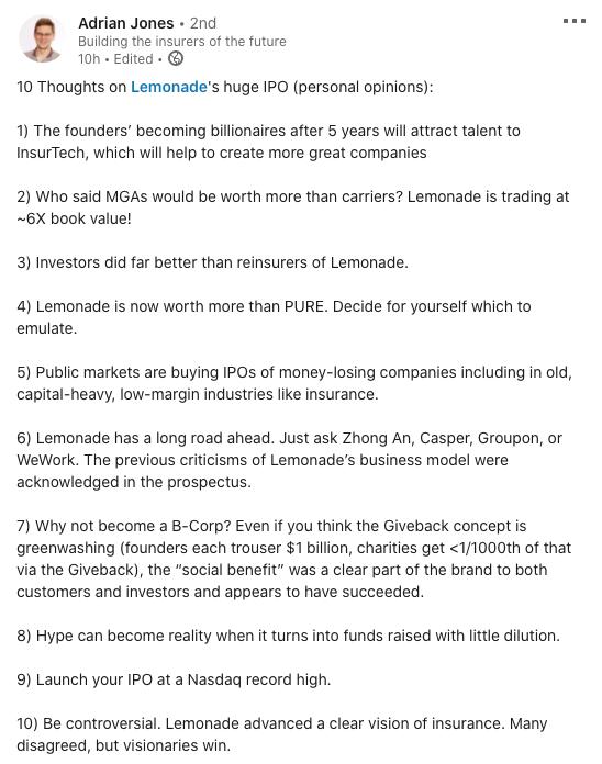 Lemonade's IPO