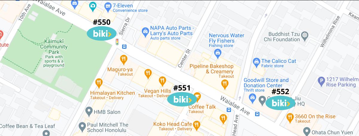 Kaimuki Biki Map