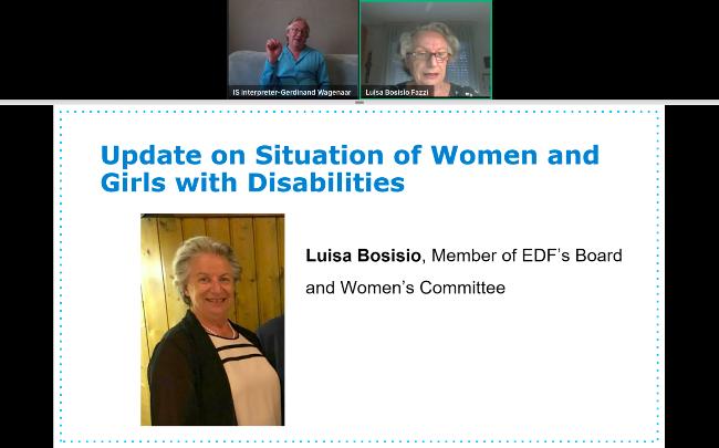 slide show during the webinar with Luisa Bosisio speaking, sign interpreter interpreting