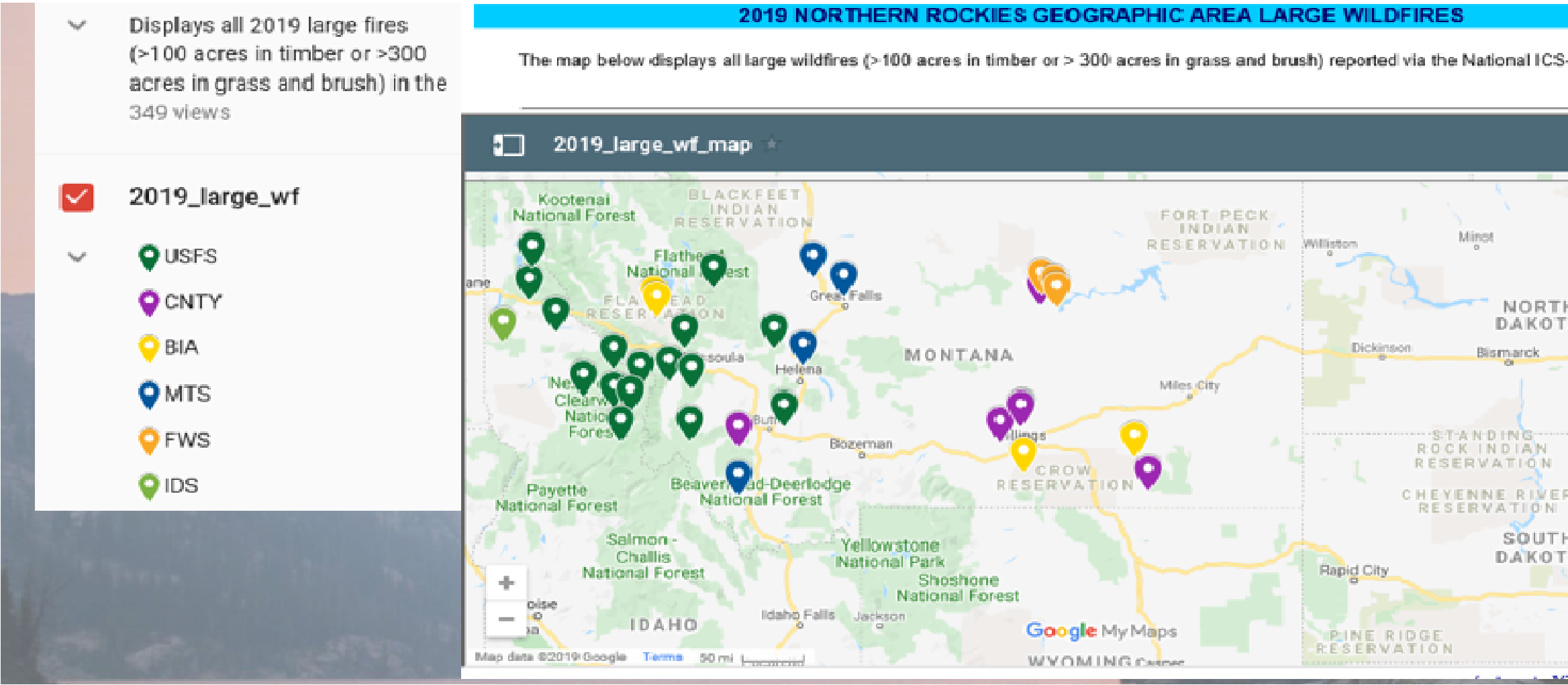 Map showing 2019 fire distribution in Montana and Idaho
