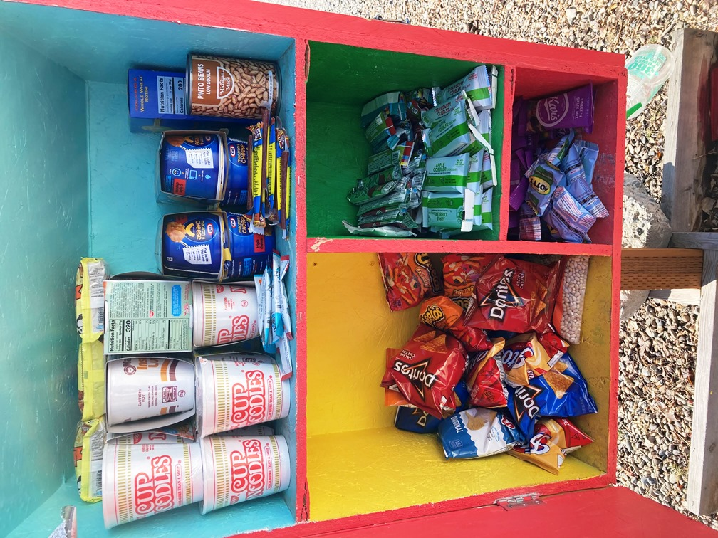 Tiny pantry in front of Lemhi After School Promise