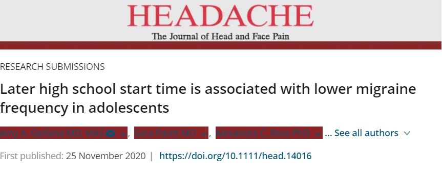 Later Start Time is Associated with Fewer Migraines