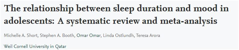 Study: Relationship between sleep duration and mood in adolescents