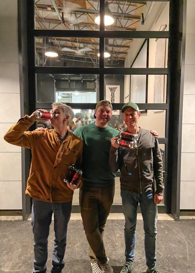 Doug (Zeeks), Andy (UF) and Tommy (Zeeks) toast to the Urban Family Ballard Taproom Grand Opening