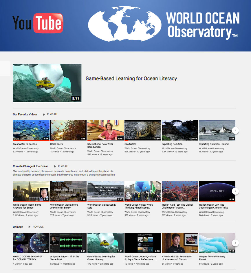 World Ocean Observatory YouTube Channel