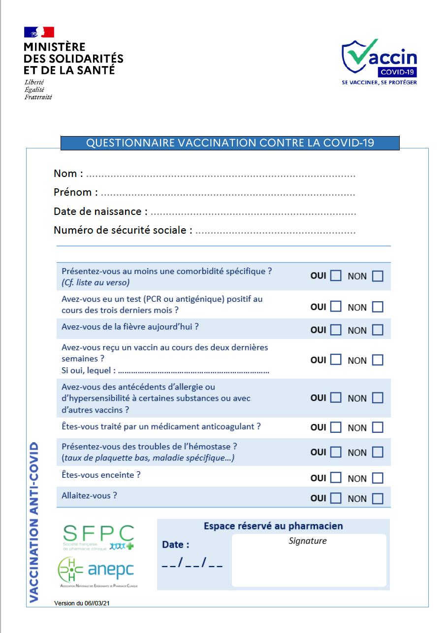 Questionnaire vaccination contre la Covid-19