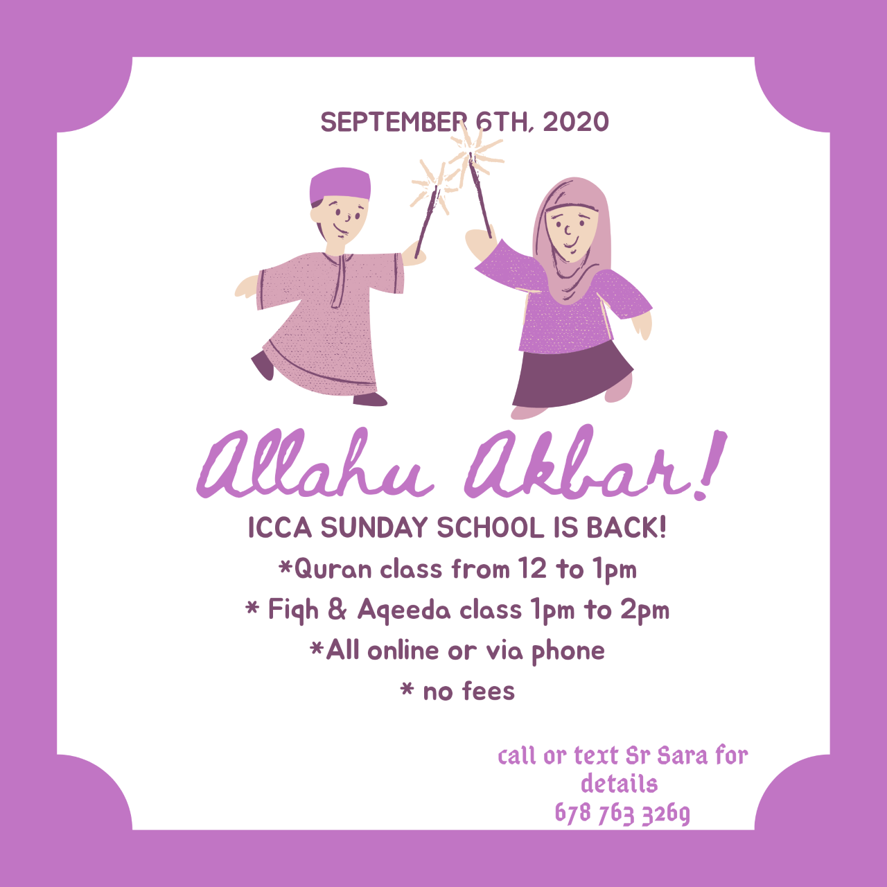 ICCA Sunday School starts Sunday Sept. 6, 2020 InshaaAllah