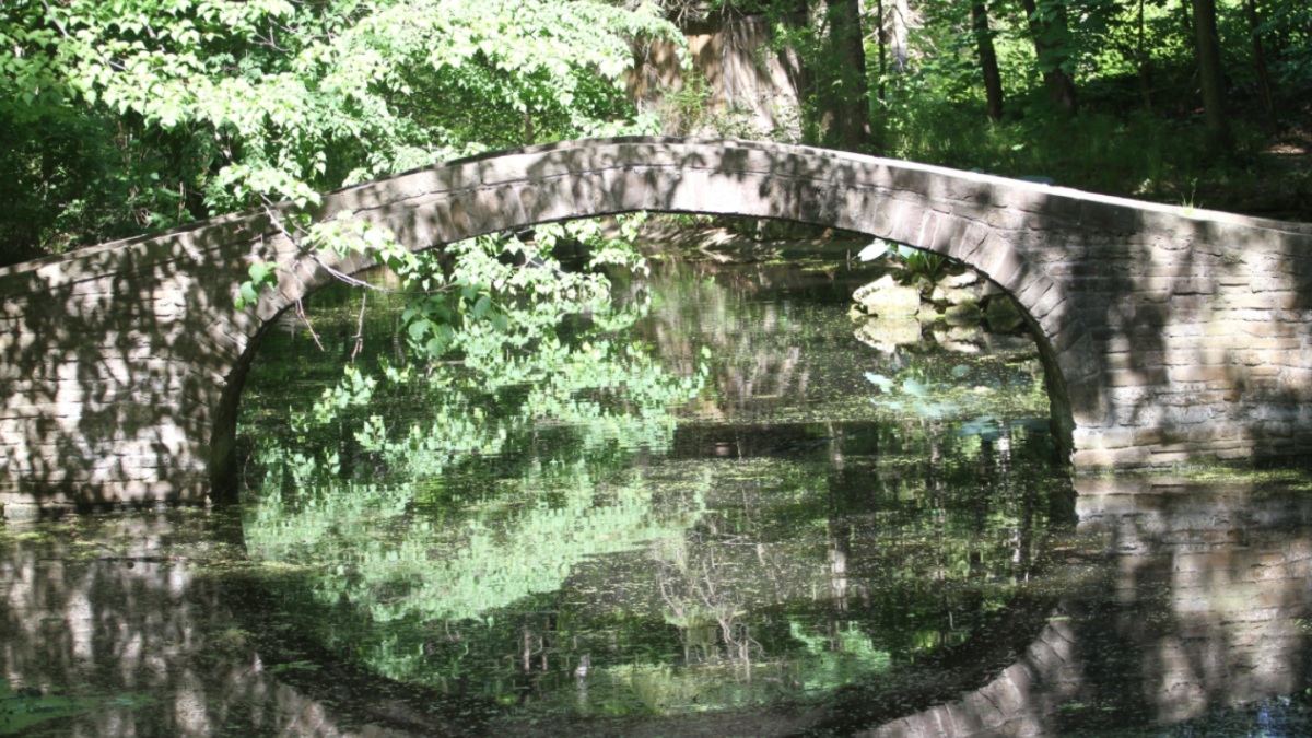 Stone arched bridge over still water, which is reflecting both the bridge and the leaves from nearby trees