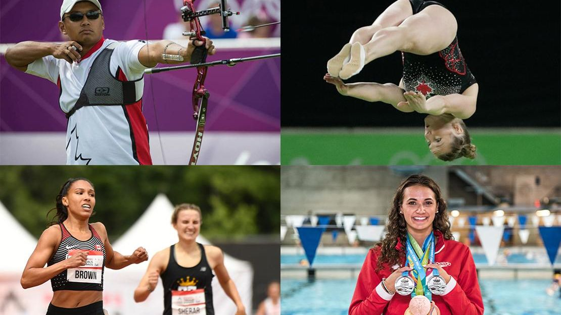 Grid of four images showing Olympic athletes, from top left: archer, gymnast jumping in the air, runners running and woman in front of pool with multiple medals around her neck