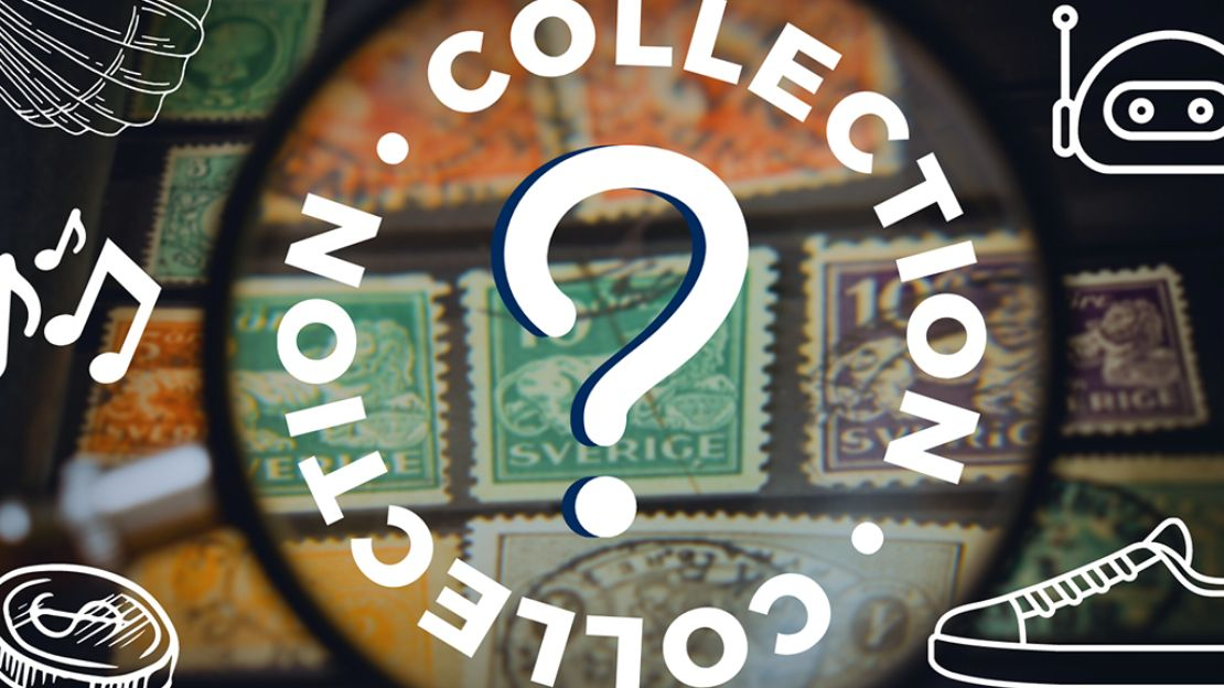 """Question mark in centre, with word """"collection"""" written around it, background shows stamps, foreground show line art of a show, shell, robot, coin and music notes"""