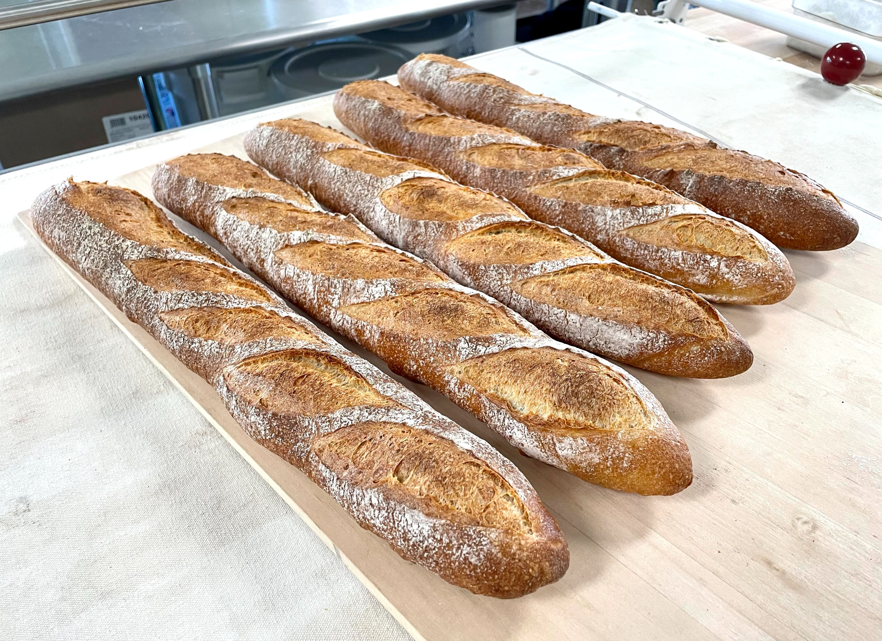 Traditional baguette out of the oven!